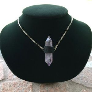 Double point amethyst crystal black suede necklace